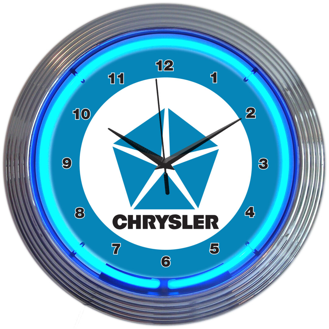 AUTO - CHRYSLER BLUE PENTASTAR NEON CLOCK - 8CRYBL - Neonetics