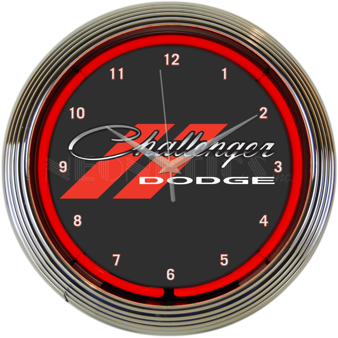 AUTO - DODGE CHALLENGER RED NEON CLOCK - 8CLGCK - Neonetics
