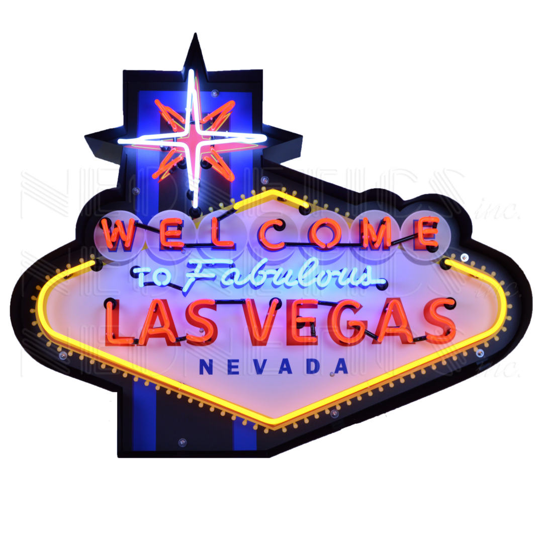 WELCOME TO FABULOUS LAS VEGAS NEON SIGN IN SHAPED STEEL ...